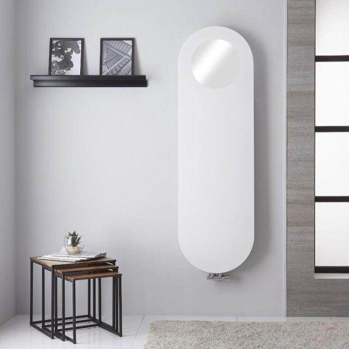 Design Heizkörper Vertikal Mineralweiß 1595 x 490mm mit Spiegel - Atrani