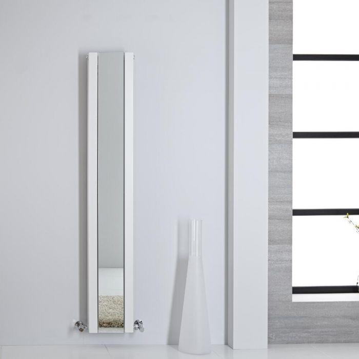 Design Heizkörper mit Spiegel Doppellagig Vertikal Weiß 1600mm x 265mm 789W - Sloane