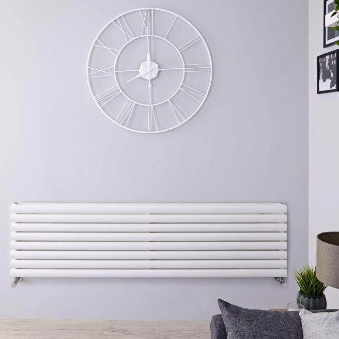 Design Heizkörper Horizontal Doppellagig Weiß 472mm x 1600mm 1611W - Revive