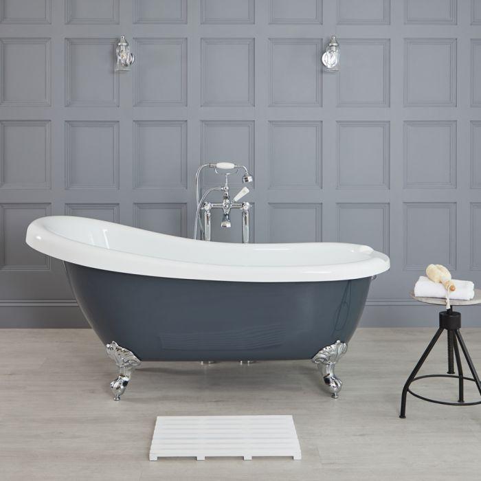 Elton 1710x740mm Freistehende Badewanne mit Füßen, Steingrau