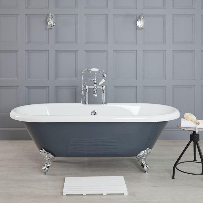 Elton 1795x785mm Doppelseitige Freistehende Badewanne Gerade mit Füßen, Steingrau