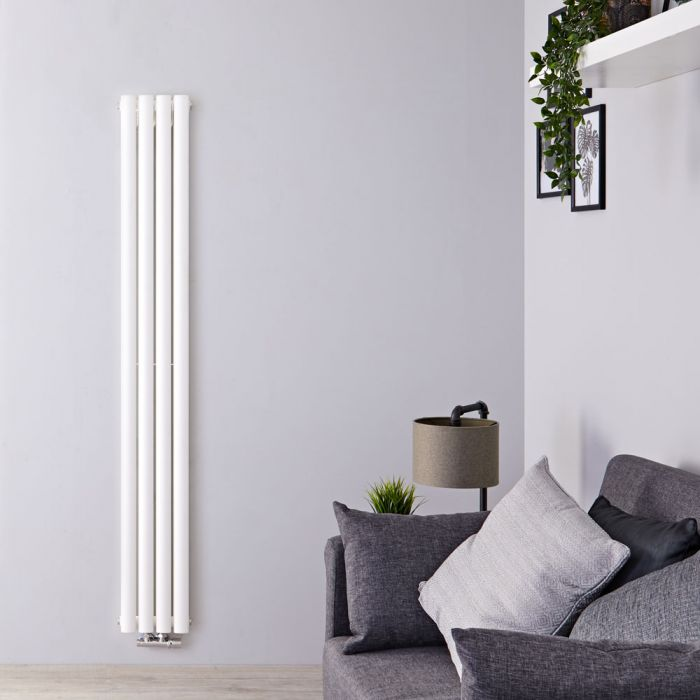 Design Heizkörper Vertikal Doppellagig Weiß 1800mm x 236mm 810W - Revive Slim