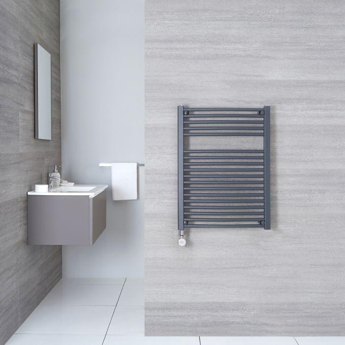 Elektrischer Handtuchheizkörper Gebogen Anthrazit 800mm x 500mm inkl. ein 400W Heizelement - Loa