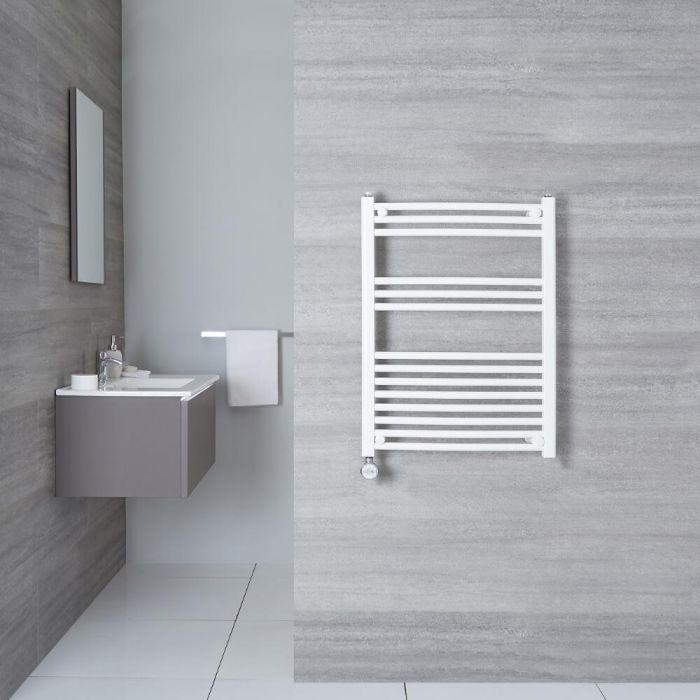 Elektrischer Handtuchheizkörper Gebogen Weiß 800mm x 600mm inkl. ein 600W Heizelement - Etna