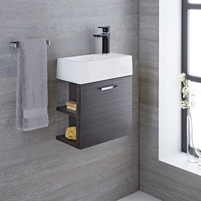 Waschtisch für Gäste-WC mit Unterschrank Grau 400mm offene Regale - Langley