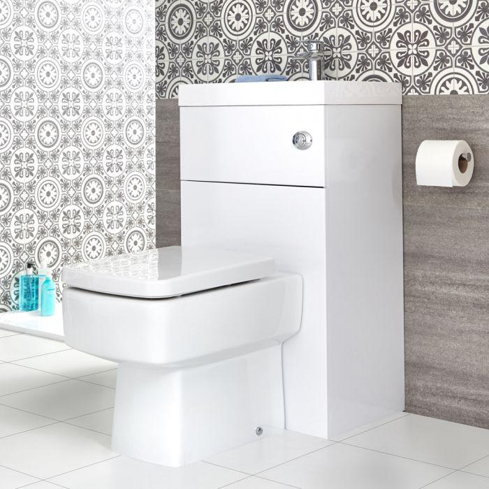 Eckige Toilette mit Spülkasten und integriertem Waschbecken