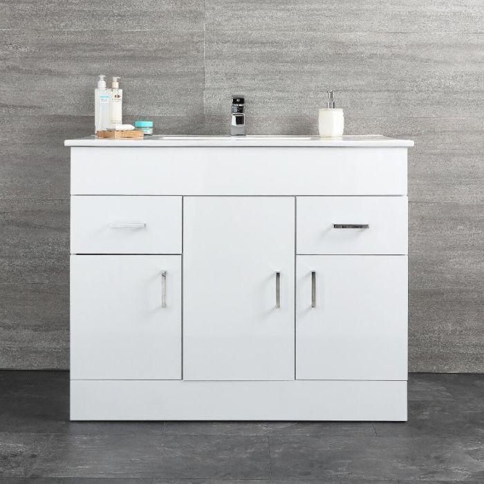 Geo Stand-Waschtisch mit Unterschrank Weiß B 1010mm, mit Schränken & Schubladen