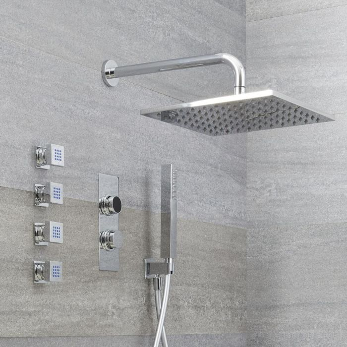 Digitale 3-Wege Dusche mit quadratischem Duschkopf, Körperdüsen & Handbrause