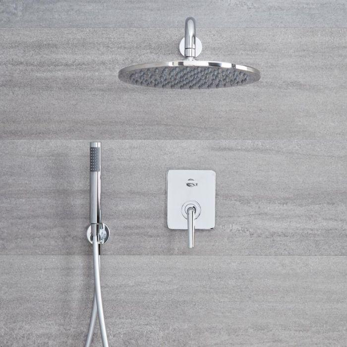 Ora - Einhebel 2-Wege Duscharmatur mit rundem 300mm Unterputz Duschkopf und Handbrause - Chrom