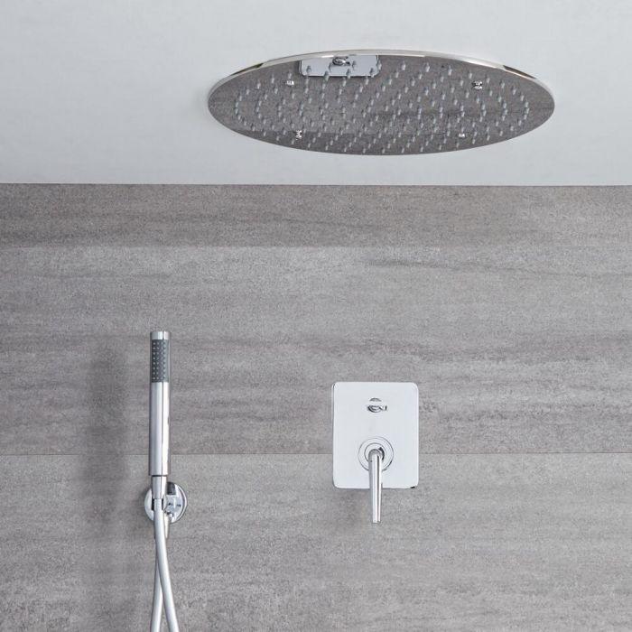 Ora - Einhebel Duscharmatur mit rundem 400mm Unterputz Duschkopf und Handbrause - Chrom
