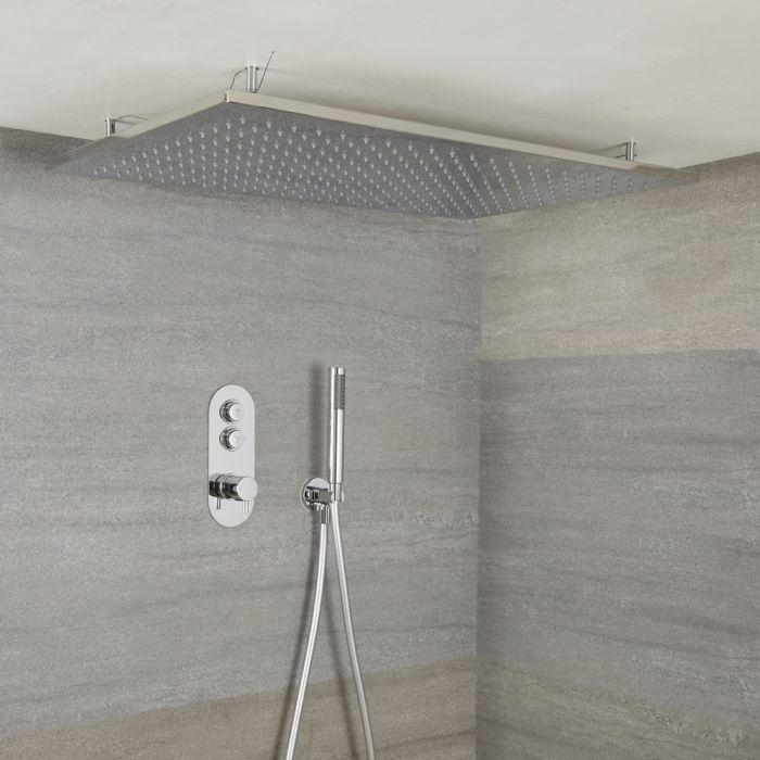 Duscharmatur mit Drucktasten 2 Funktionen, inkl. Handbrause und Regenschauer-Unterputzduschkopf - Idro