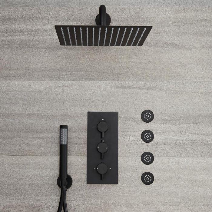 Nox - Schwarze 3-Wege Armatur mit 300x300mm Kopf, Handbrause und Körperdüsen