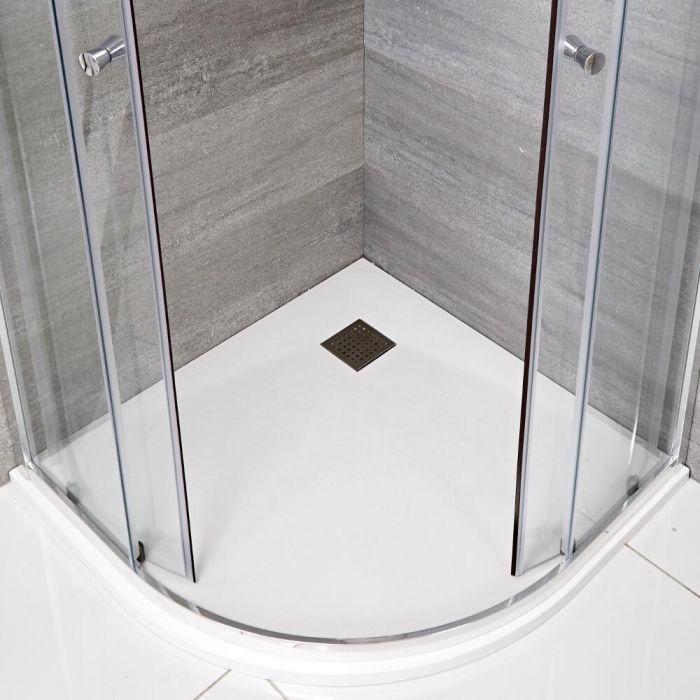Rockwell -  matt-weiß Stein-Optik Eckduschwanne 900mm