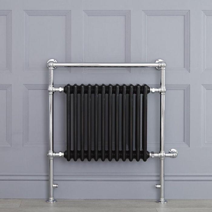 Schwarzer traditioneller Handtuchheizkörper, elektrisch, 930mm x 790mm x 155mm mit 800W Heizstab - Elizabeth