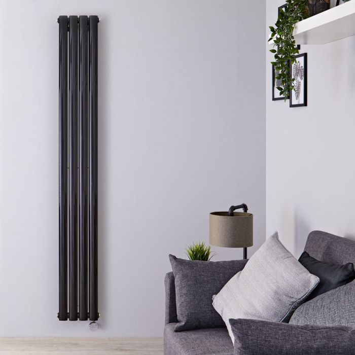 Design Heizkörper Elektrisch Vertikal Doppellagig Schwarz 1780mm x 236mm inkl. 1x 1200W Heizelemente - Revive