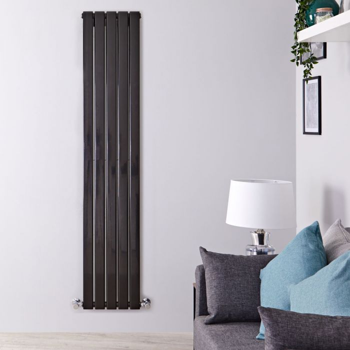 Design Heizkörper Vertikal Doppellagig Schwarz 1780mm x 350mm 1237W - Delta