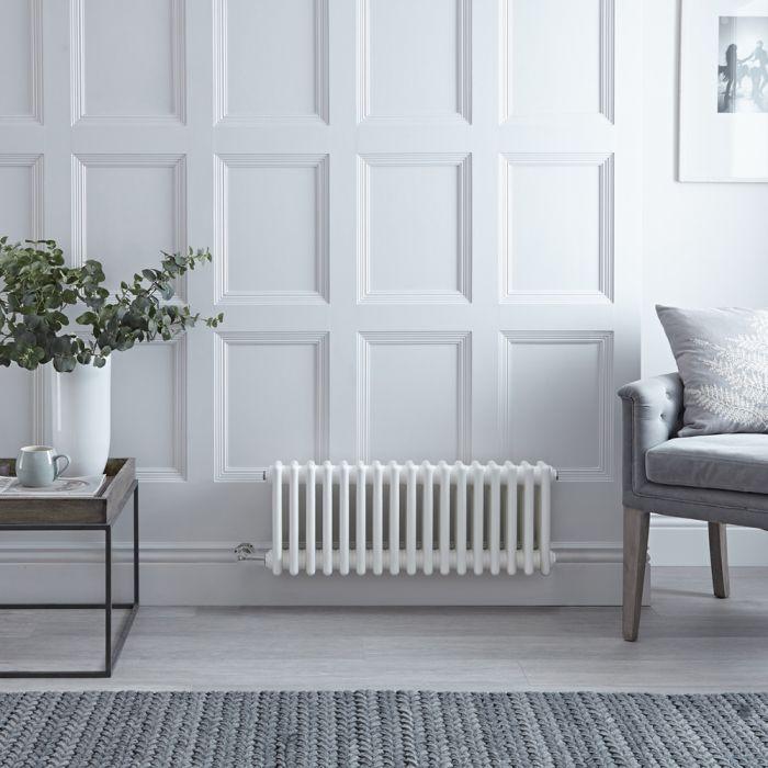 Gliederheizkörper,  Elektrisch, Nostalgie Weiß, Dreifach-Säulen, 300mm x 785mm, Auswahl an WLAN-Thermostat - Regent