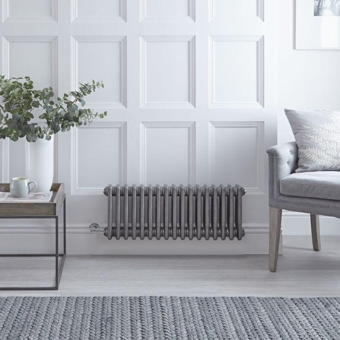 Gliederheizkörper, Elektrisch, Nostalgie Rohmetall, Dreifach-Säulen, 300mm x 785mm, Auswahl an WLAN-Thermostat - Regent