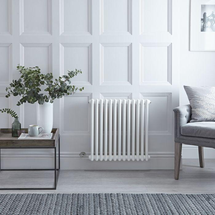 Gliederheizkörper Elektrisch, Weiß, Doppelsäule, 600mmx605mm, 800W Heizstab, Auswahl an WLAN-Thermostat - Regent