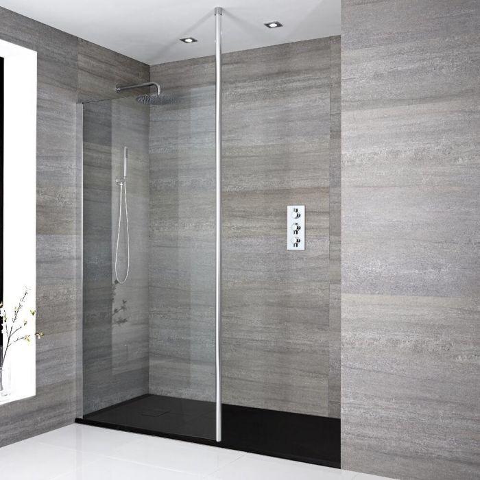 Sera Vertiefte Walk-In Duschabtrennung mit Duschtasse in Graphit Stein-Optik - Wählbare Größe