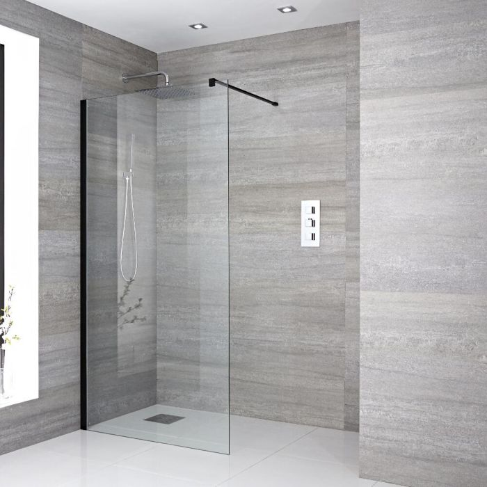 Walk-In Duschwand 900mm inkl. Haltearm, schwarzes Profil & wählbarer Duschrinne - Nox