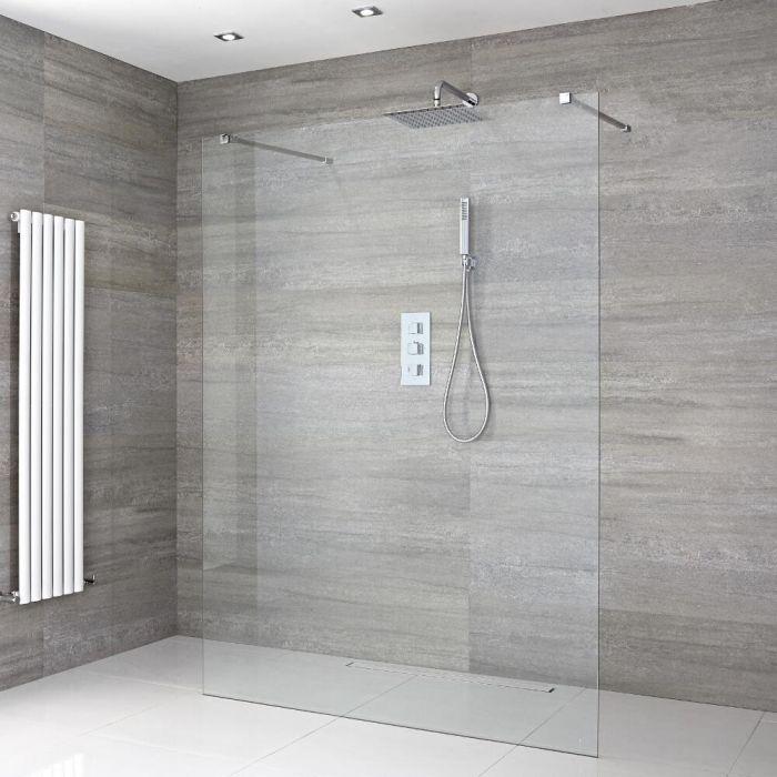 Walk-In Duschwand 1200mm mit 2 Haltearmen inkl. wählbare Duschrinne - Portland