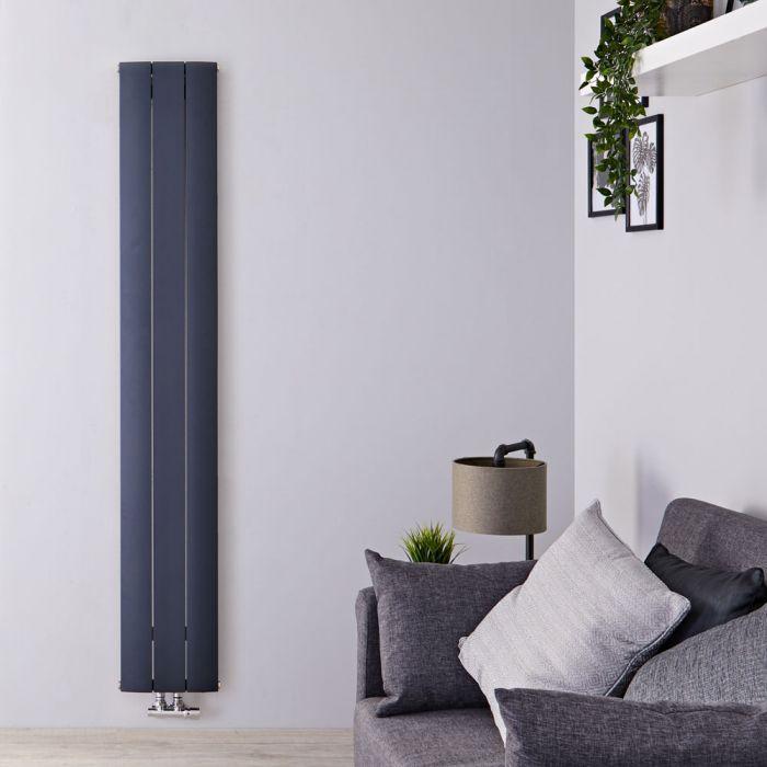 Design Heizkörper Vertikal Einlagig Mittelanschluss - Aluminium Anthrazit 1600mm x 280mm 1021W - Aurora