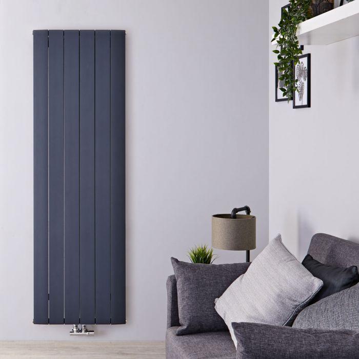 Design Heizkörper Vertikal Einlagig Mittelanschluss - Aluminium Anthrazit 1800mm x 565mm 2075W - Aurora