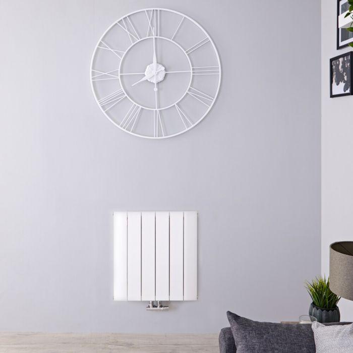 Design Heizkörper Horizontal Einlagig Mittelanschluss - Aluminium Weiß 600mm x 565mm 768W - Aurora