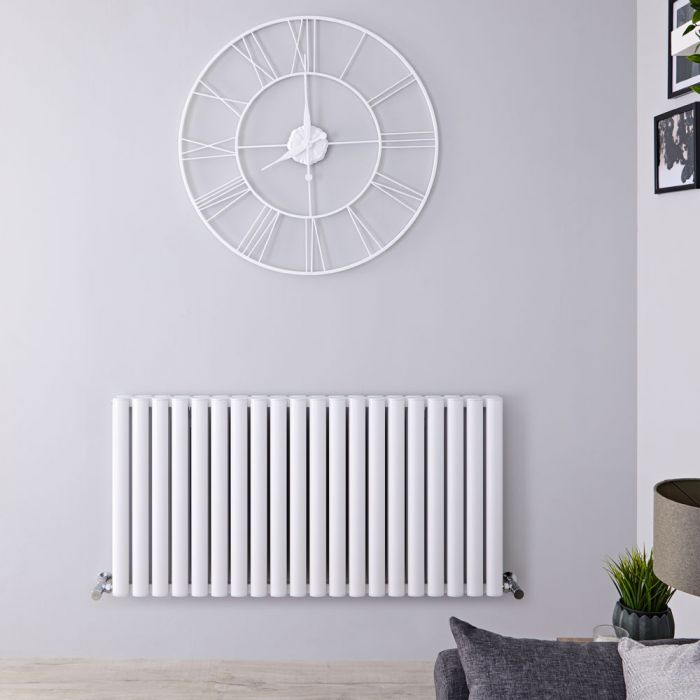 Design Heizkörper Aluminium Doppellagig Horizontal Weiß 600mm x 1190mm 2298W - Revive Air