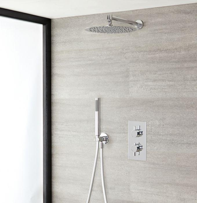 Duschsystem inkl 300mm Kopfbrause, Twin Duscharmatur und Funktionswechsler - Ecco