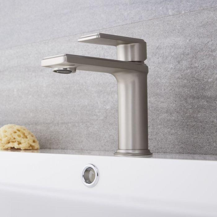 Einhebel Waschtischarmatur Modern in gebürstetem Nickel - Aldwick