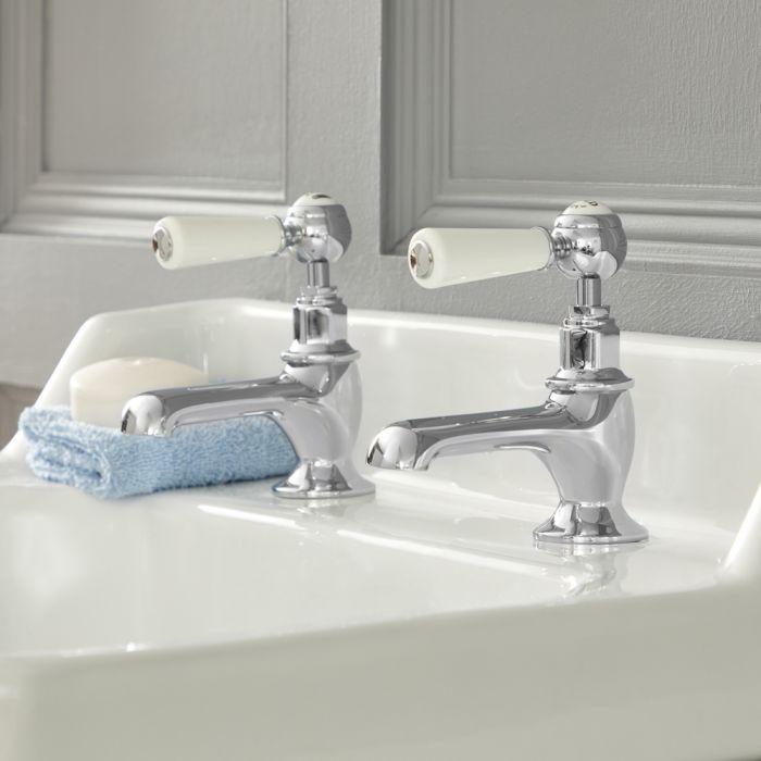 Elizabeth - Traditionelle 2-Loch Kalt-Warm Waschtischhähne mit Hebelgriffen - Chrom und Weiß