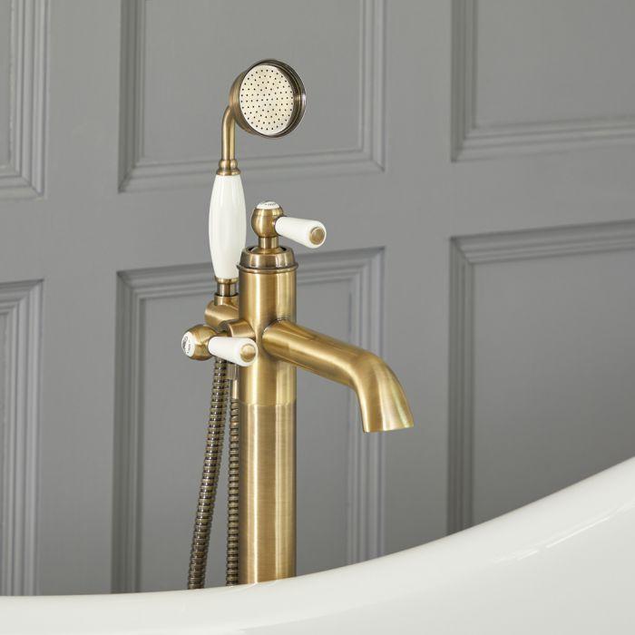 Elizabeth - Traditionelle Freistehende Einloch Badewannenarmatur mit Brause - Antikes Gold