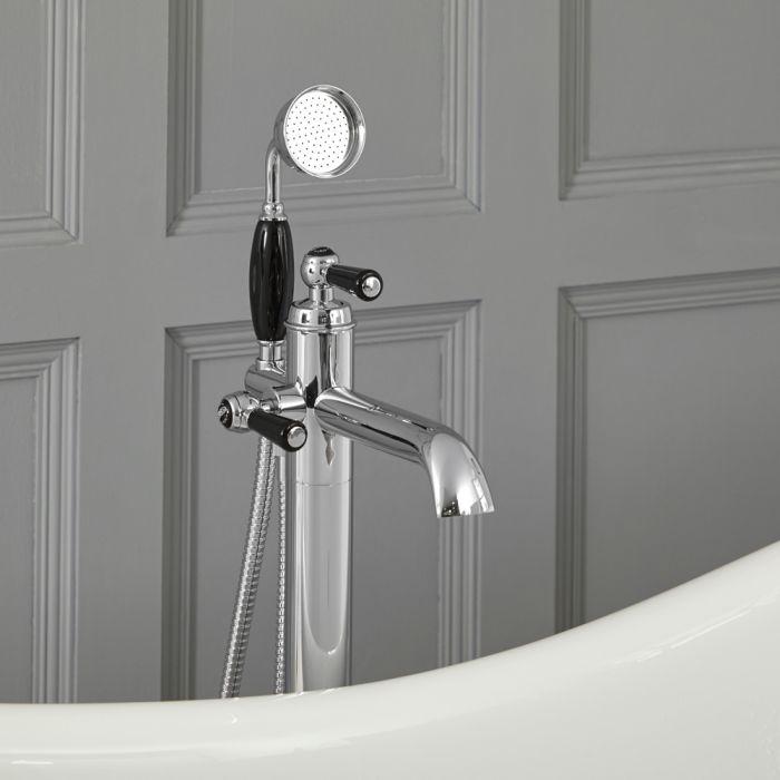Elizabeth - Traditionelle Freistehende Einloch Badewannenarmatur mit Brause - Chrom und Schwarz