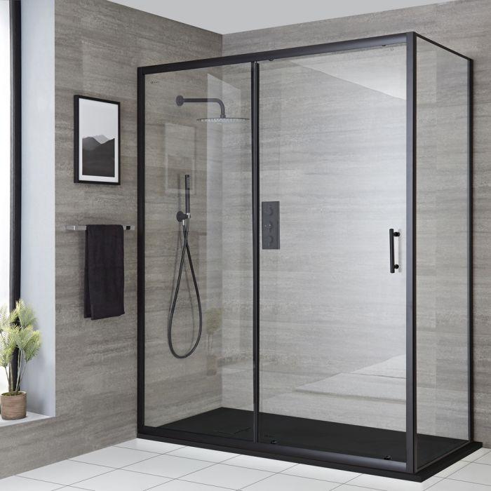 Eckschiebetür-Duschanlage Schwarz, Größe und Ausführung wählbar - Nox