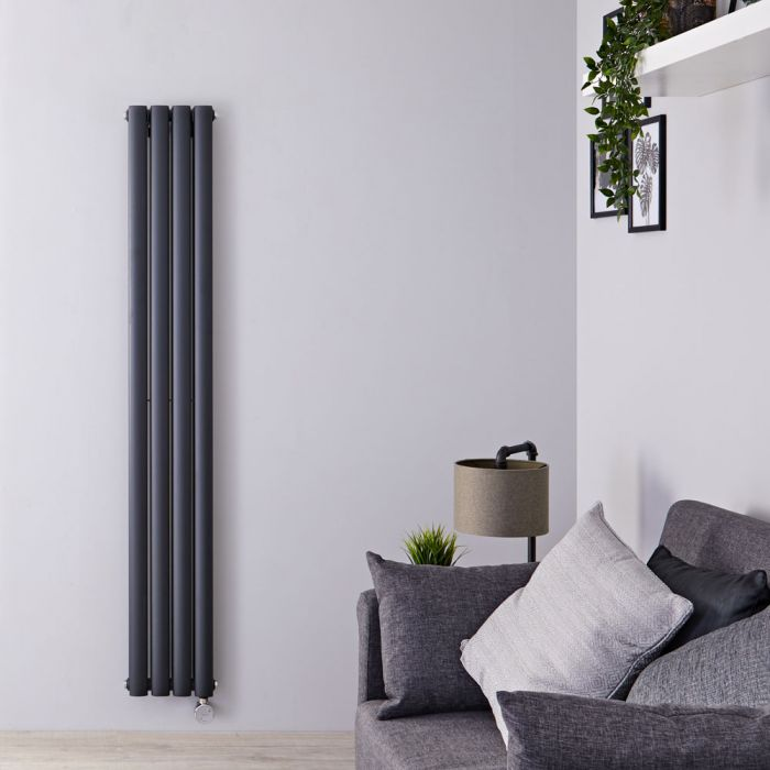 Design Heizkörper Elektrisch Vertikal Doppellagig Anthrazit 1600mm x 236mm inkl. 1x 1200W Heizelemente - Revive