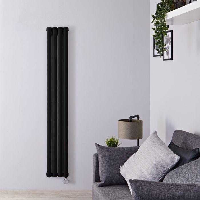 Design Heizkörper Elektrisch Vertikal Einlagig Matt-Schwarz 1600mm x 236mm inkl. ein 800W Heizelement - Revive