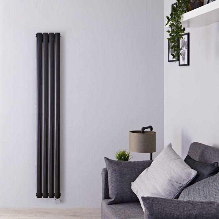 Design Heizkörper Elektrisch Vertikal Doppellagig Matt-Schwarz 1600mm x 236mm inkl. 1x 1200W Heizelemente - Revive