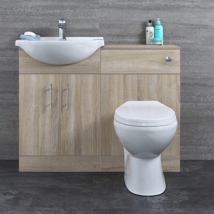 Waschtisch und Toiletten Set - Eiche 1140mm - ovale Toilette