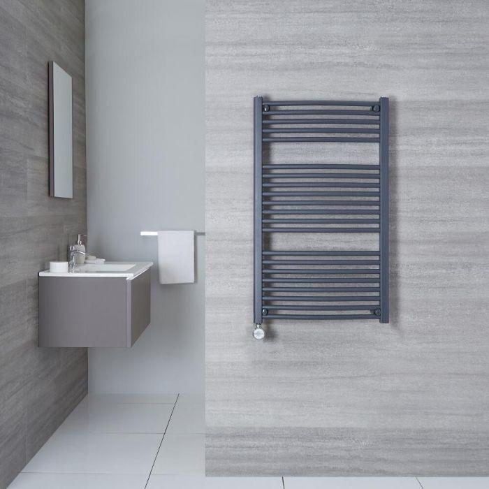 Elektrischer Handtuchheizkörper Gebogen Anthrazit 1000mm x 600mm inkl. ein 600W Heizelement - Loa