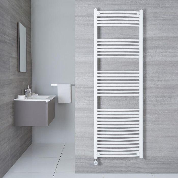 Elektrischer Handtuchheizkörper Gebogen Weiß 1800mm x 600mm inkl. ein 1000W Heizelement - Etna