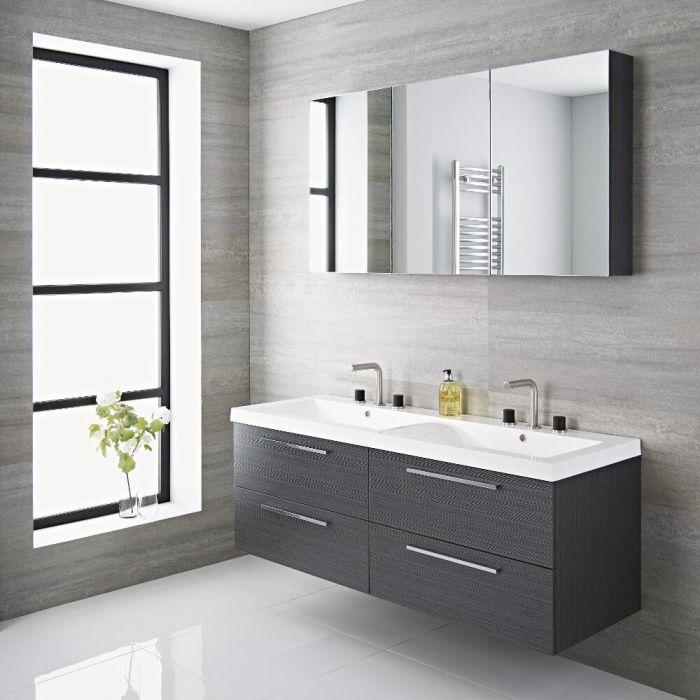Waschtisch mit Unterschrank und Doppelwaschbecken Grau 1400mm - Langley