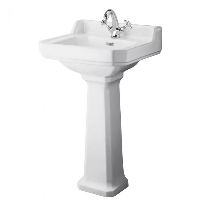 Standwaschbecken mit Spritzschutz - Richmond - 1-Loch 855mm x 500mm x 350mm