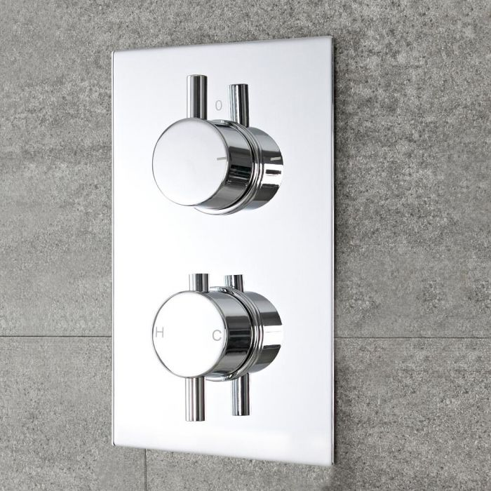 Moderne Twin Armatur mit Funktionswechsler runde Griffe Unterputz - Como