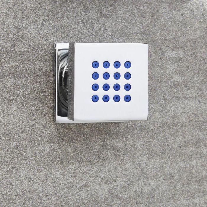 1x Seitenbrause Quadratisch Chrom, zur Aufputzmontage - Kubix