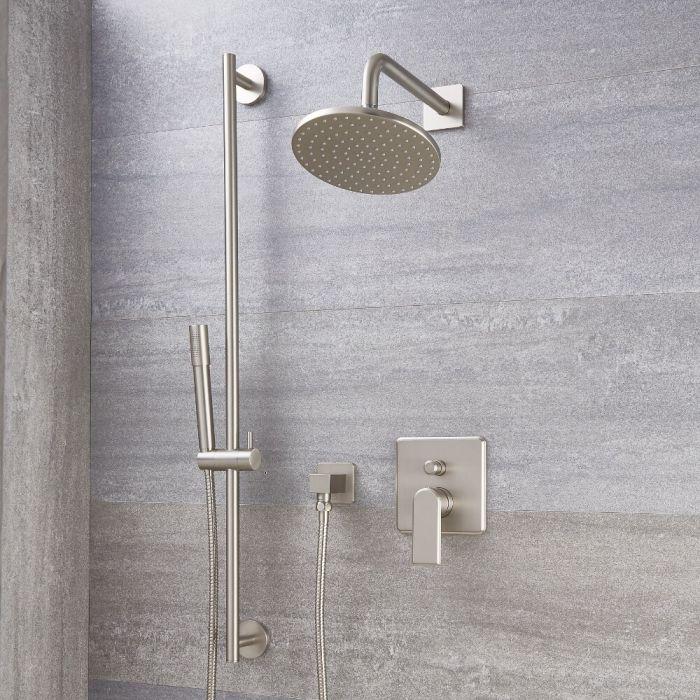 Aldwick Einhebel-Duscharmatur mit Umschalter, 200mm runder Kopf und Handbrause - Gebürstetes Nickel