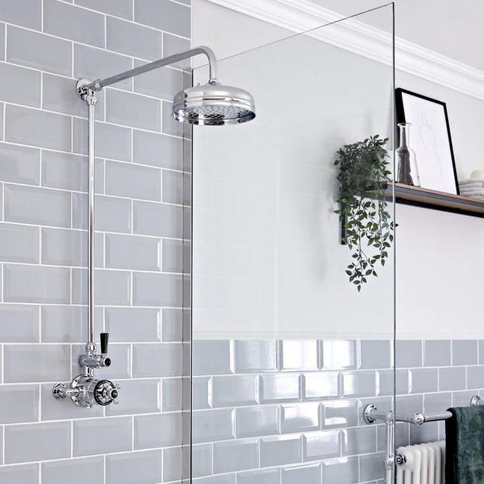 Retro Aufputz Duschsäule mit Duschthermostat, Chrom/Schwarz - Elizabeth