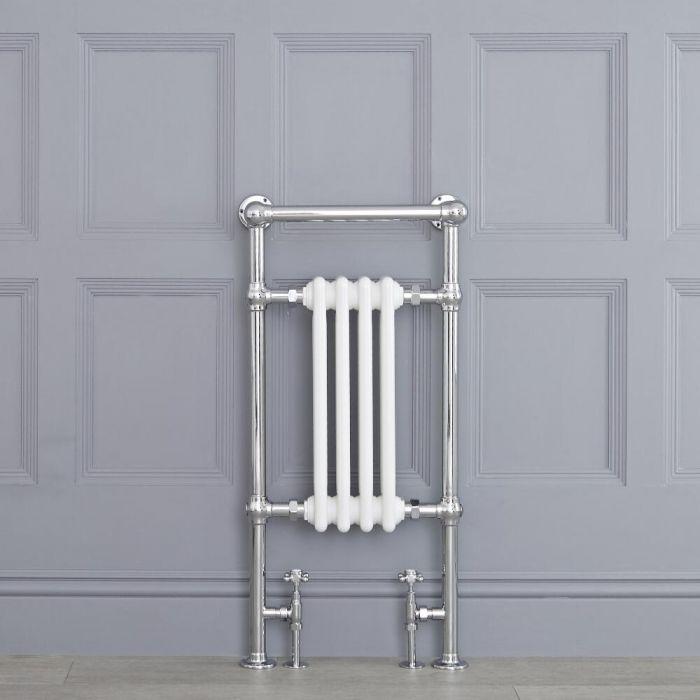 Weißer traditioneller Handtuchheizkörper - 930mm x 452mm x 230mm, 437 Watt - Elizabeth