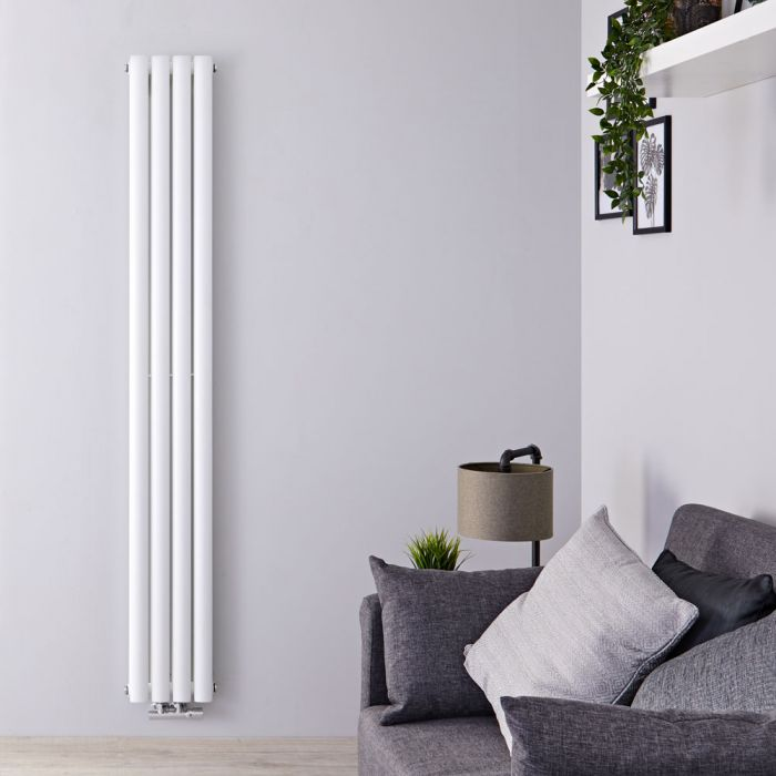 Design Heizkörper Vertikal Mittelanschluss Doppellagig Weiß 1780mm x 236mm 934W - Revive Caldae
